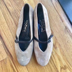 Salvatore Ferragamo Audrey Suede Mary Jane Shoes